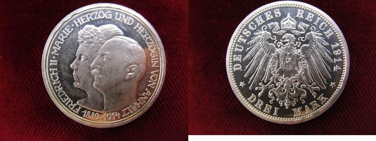 3 Mark 1914 A Anhalt Silberhochzeit Herzog Friedrich Ii Herzogin