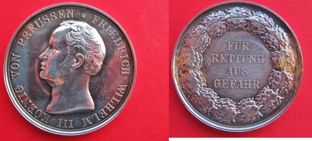 Silbermedaille 1833 Preussen Für Rettung Aus Gefahr Preußen