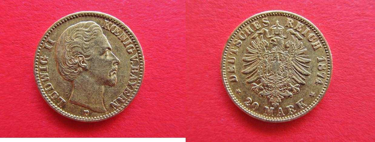 20 Mark 1874 D Bayern Ludwig Ii König Von Bayern 20 Goldmark