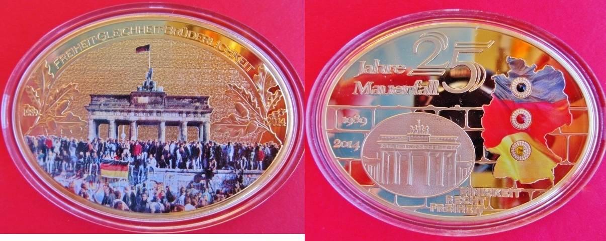 Xxl Medaille 2014 Brd Deutschland Gigant 25 Jahre Mauerfall Ddr
