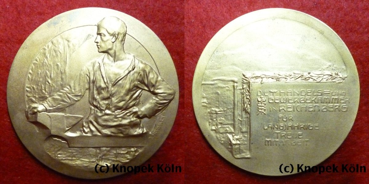 Bronze Medaille Oj Reichenberg Böhmen Rdr Medaille Von