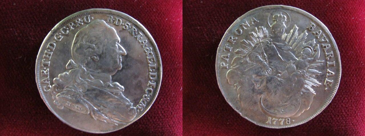 Taler 1778 H St Bayern Carl Theodor 1777 1799 München