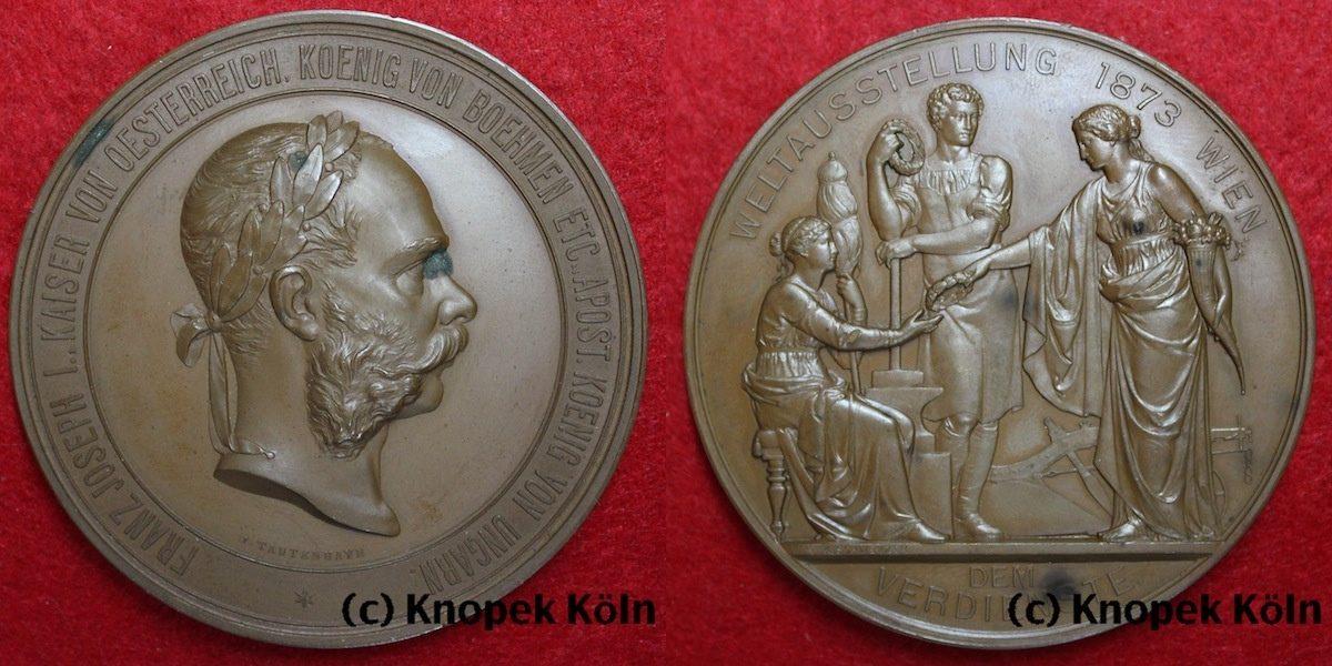 Gr Medaille 1873 Rdr österreich Bronze Weltausstellung 1873 In