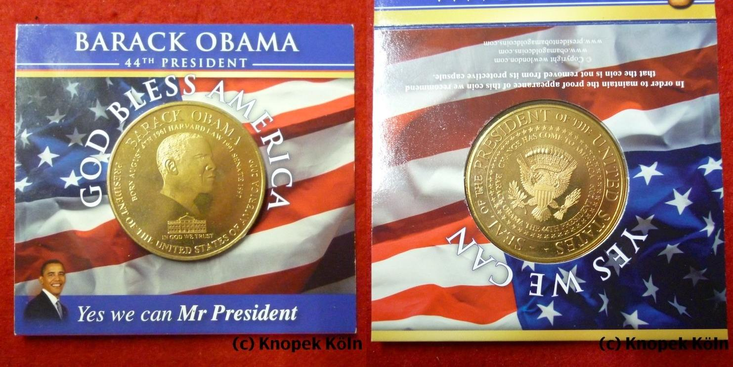Medaille 2009 Usa Us Präsident Barack Obama 44th President Yes We