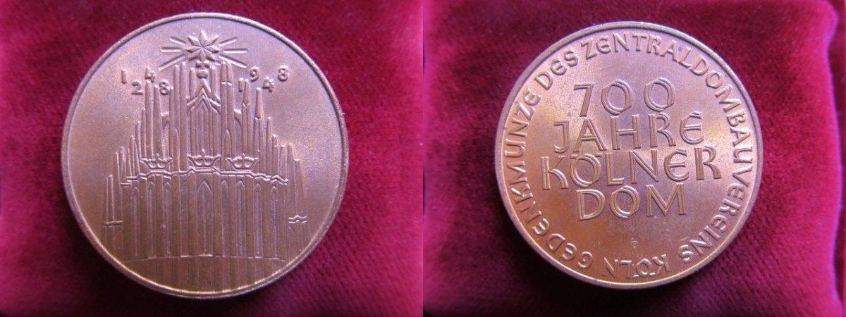 Medaille 1948 Köln 700 Jahre Kölner Dom Gedenkmünze Des