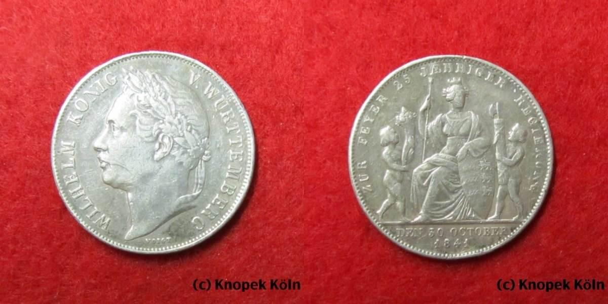 Gulden 1841 Württemberg König Wilhelm I 1816 1864 25 Jahre