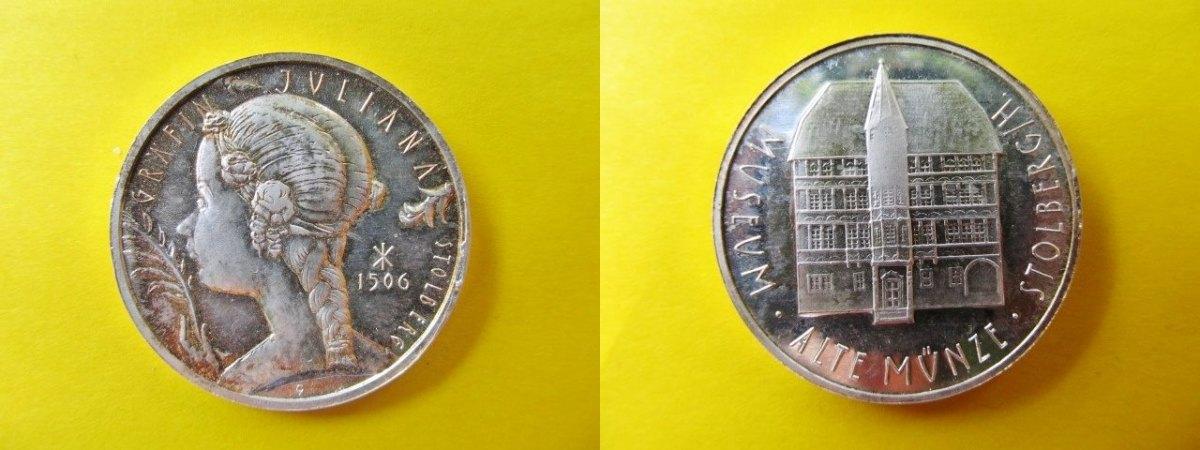 Silberne Medaille Oj Stolberg Auf Gräfin Juliana Das Museum I