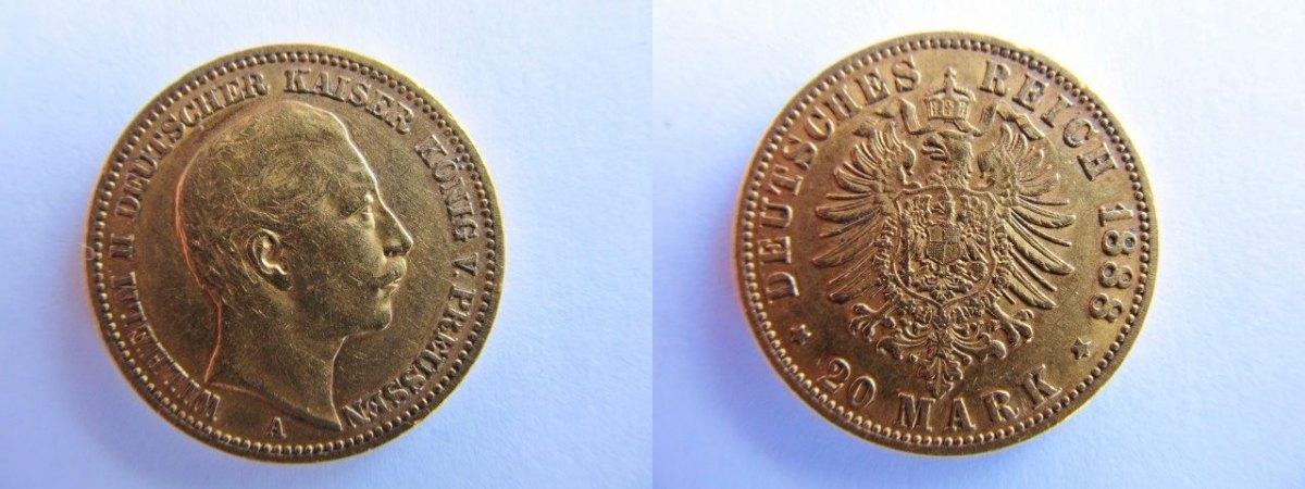 20 Mark 1888 A Preussen 20 Goldmark Wilhelm Ii Besseres Jahr