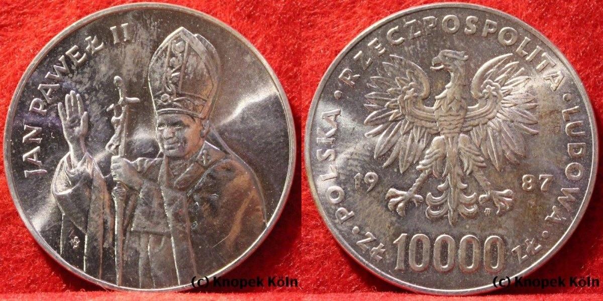 10000 Zlotych 1987 Polen 10000 Zloty Papst Johannes Paul Ii Silber