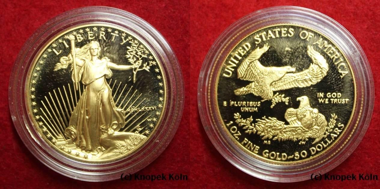 50 Dollars 1986 Usa 50 Dollar 1 Unze Gold Schreitende Freiheit