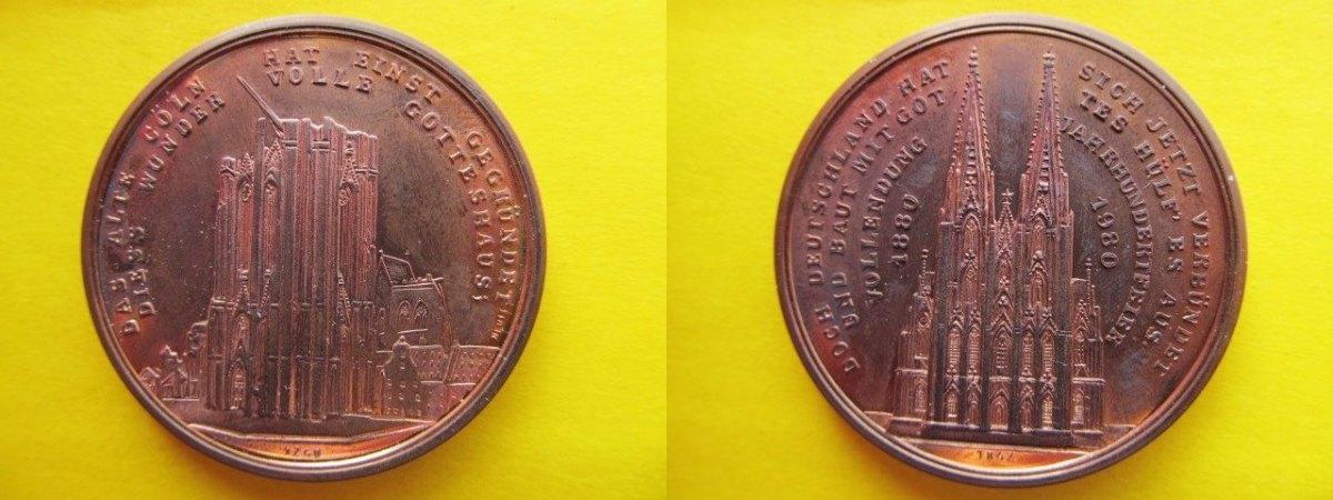 Cu Medaille 1980 Köln 100 Jahre Domvollendung Kölner Dom Nach