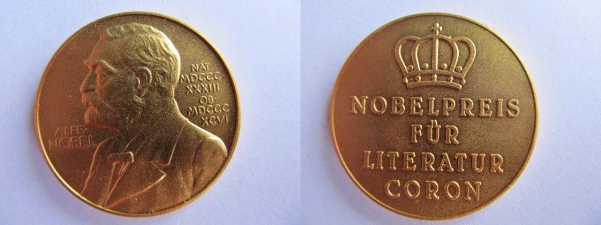 Medaille Oj Nobel Alfred Vergoldet Nobelpreis Für Literatur