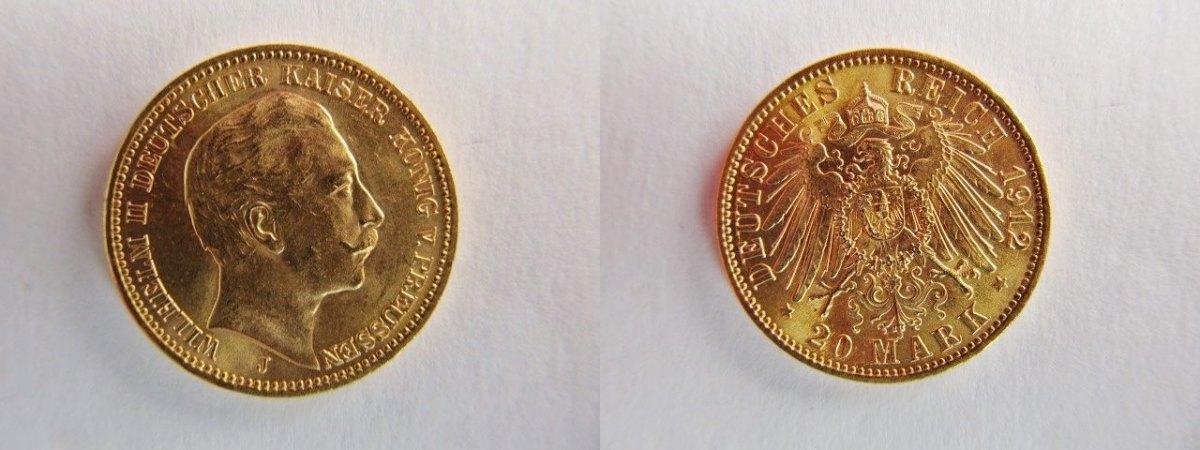 20 Mark 1912 J Preussen Preußen 20 Goldmark Wilhelm Ii Gold