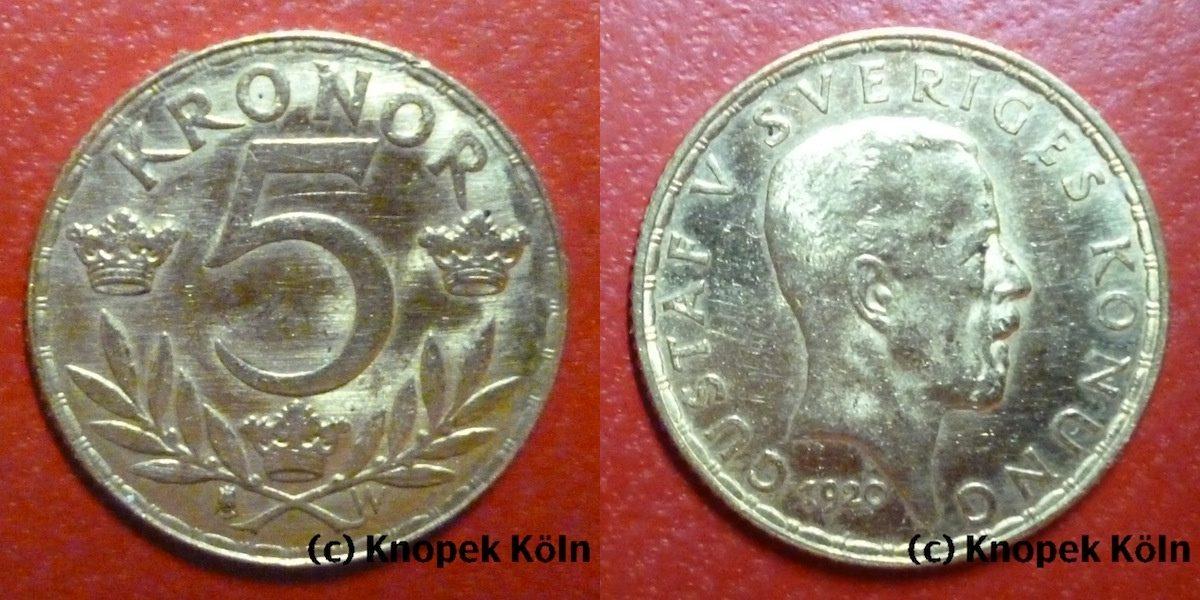5 Kronen 1920 W Schweden Gustaf V. Gold 5 Kronor vz-stgl