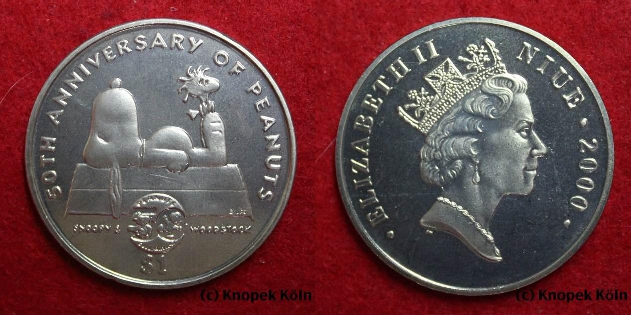 1 Dollar 2000 Niue 1 50 Jahre Zeichentrickserie Peanuts Hund