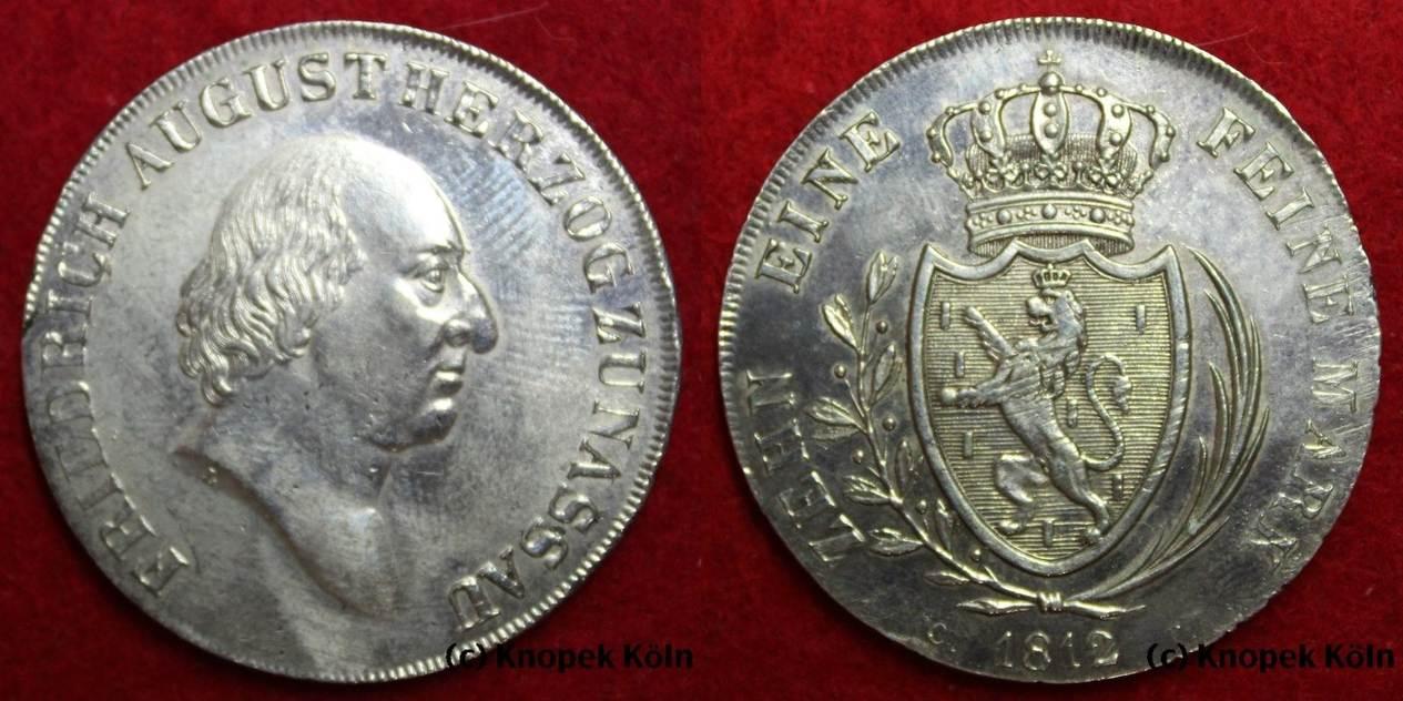 Taler 1812 Ct Nassau Friedrich August 1803 1816 Zehn Eine Feine