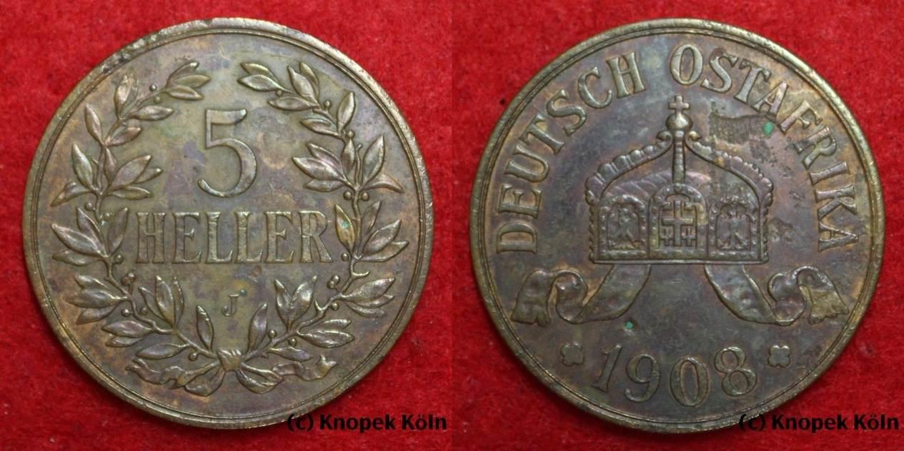 5 Heller 1908 J Deutsch Ostafrika Doa Größte Deutsche Kupfer Münze