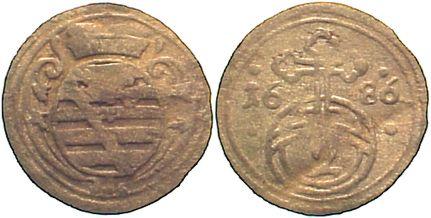 2 Pfennig 1686 Sachsen-Gotha-Altenburg Friedrich I. 1675-1691. Knickspur, sehr schön