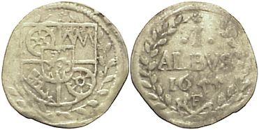 1 Albus 1655 MF Mainz, Erzbistum Johann Philipp von Schönborn 1647-1673. kl.Prägeschwäche, sehr schön+