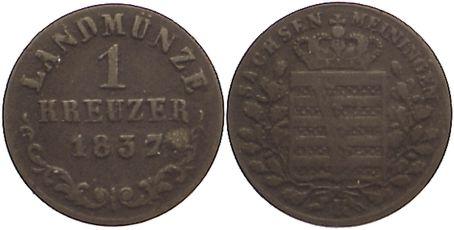 Kreuzer 1837 L Sachsen-Meiningen Bernhard Erich Freund 1803-1866. selten, sehr schön