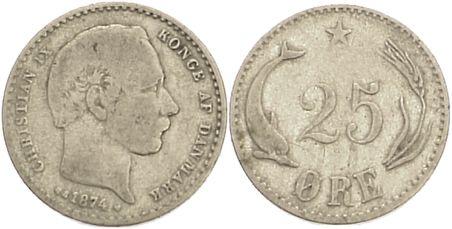 25 Öre 1 1874 CS Dänemark Christian IX. 1863-1906. schön-sehr schön
