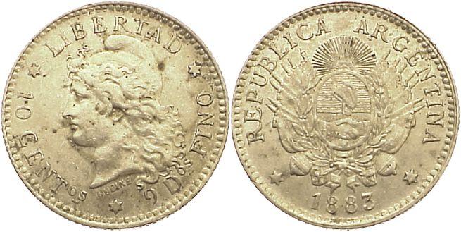 10 Centavos 1883 Argentinien fast vorzüglich