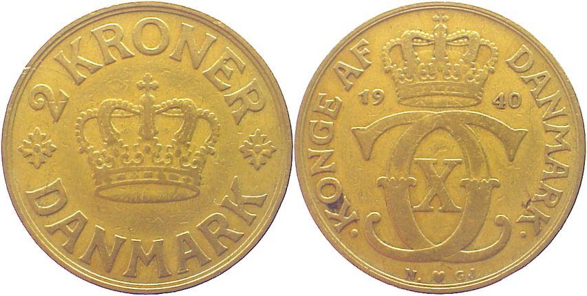 2 Kronen 1940 N Dänemark Christian X. 1912-1947. fast sehr schön