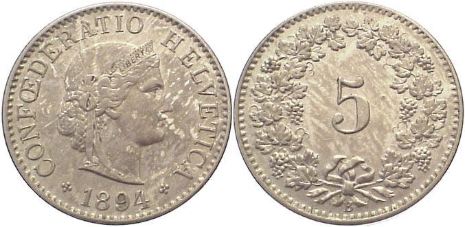 5 Rappen 1894 B Schweiz-Eidgenossenschaft Patina, kl.Kratzer, vorzüglich