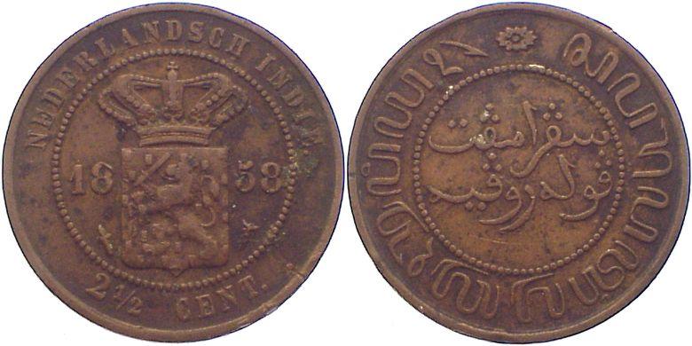 Cu 2 1/2 Cent 1858 Niederlande-Niederländisch-Ostindien Wilhem III. 1849-1890. kl.Belagreste, kl.Randfehler, fast sehr schön
