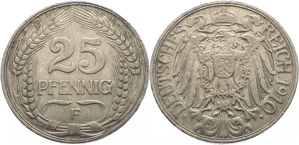 25 Pfennig 1910 F Kleinmünzen sehr schön