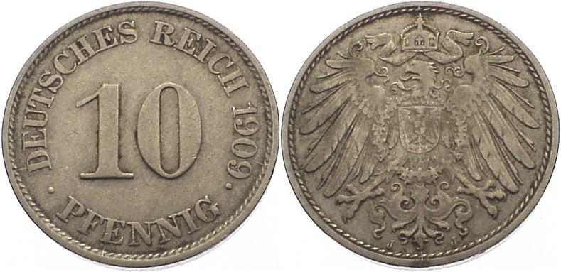 10 Pfennig 1909 J Kleinmünzen sehr schön