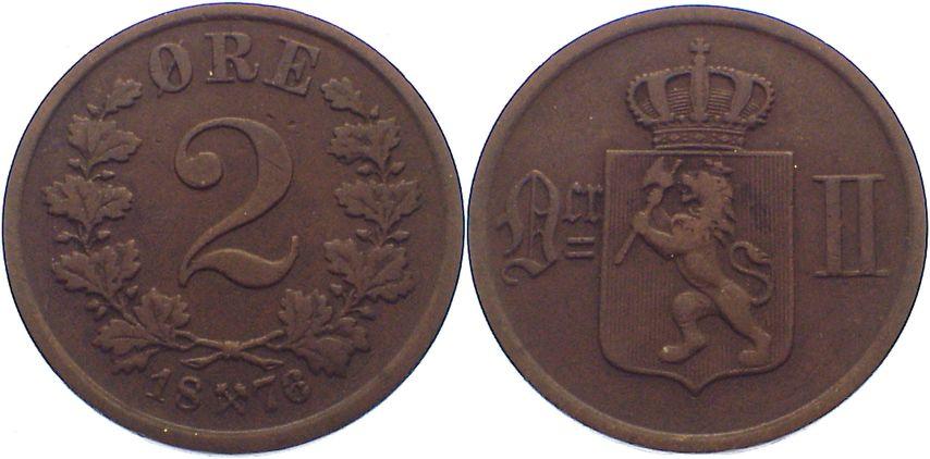 Cu 2 Öre 1 1876 Norwegen Oskar II. 1872-1905. fast sehr schön