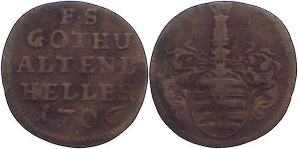 Cu Heller 1706 Sachsen-Gotha-Altenburg Friedrich II. 1691-1732. fast sehr schön