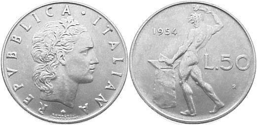 50 Lire 1954 R Italien-Republik seit 1946 Republik seit 1946. vorzüglich +