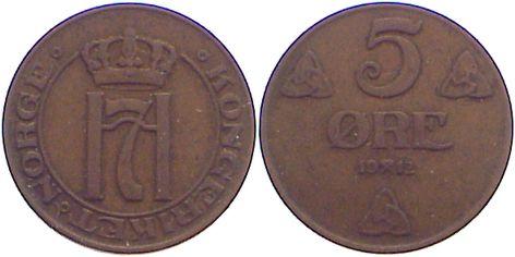 Cu 5 Öre 1 1912 Norwegen Haakon VII. 1905-1957. sehr schön