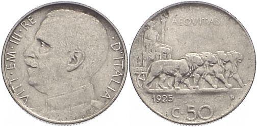 50 Centesimi 1925 R Italien-Königreich Vittorio Emanuele III. 1900-1946. sehr schön