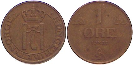 Cu 1 Öre 1 1927 Norwegen Haakon VII. 1905-1957. sehr schön