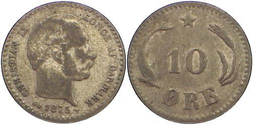10 Öre 1 1875 CS Dänemark Christian IX. 1863-1906. fast sehr schön