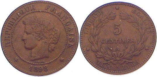 Cu 5 Centimes 1898 A Frankreich Dritte Republik 1870-1940. kl. Randfehler, sehr schön