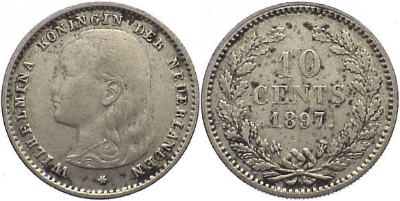 10 Cent 1897 Niederlande-Königreich Wilhelmina I. 1890-1948. fleckig, sehr schön