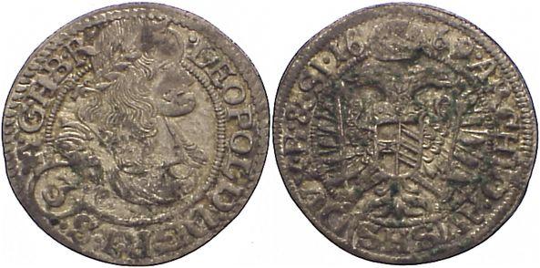 3 Kreuzer 1669 Haus Habsburg Leopold I. 1657-1705. Belagreste, sehr schön