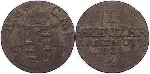 Kreuzer 1808 Sachsen-Meiningen Bernhard Erich Freund 1803-1866. kl. Schrötlingsfehler, sehr schön