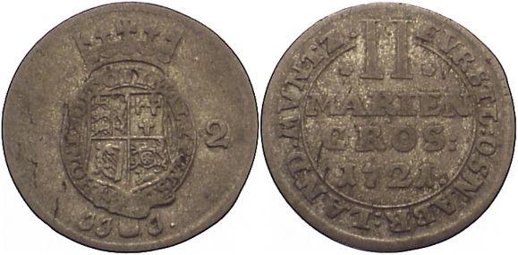 2 Mariengroschen 1721 Osnabrück, Bistum Ernst August II. von York 1716-1728. sehr selten, sehr schön