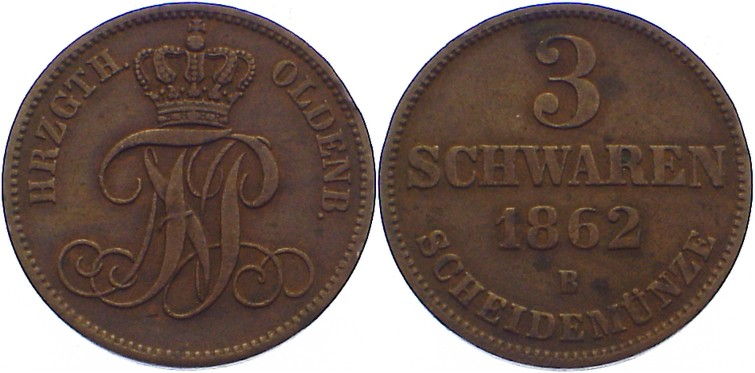 Cu 3 Schwaren 1862 B Oldenburg Nicolaus Friedrich Peter 1853-1900. seltener Jahrgang, kl. Randfehler, sehr schön