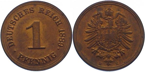 1 Pfennig 1889 E Kleinmünzen fast vorzüglich