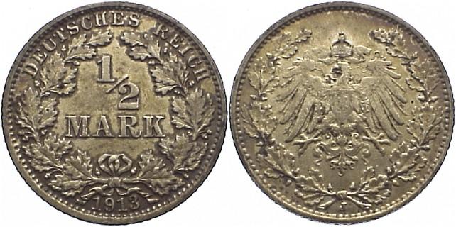 1/2 Mark 1913 J Kleinmünzen sehr schön-vorzüglich