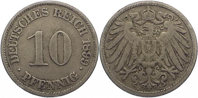 10 Pfennig 1899 J Kleinmünzen fast sehr schön