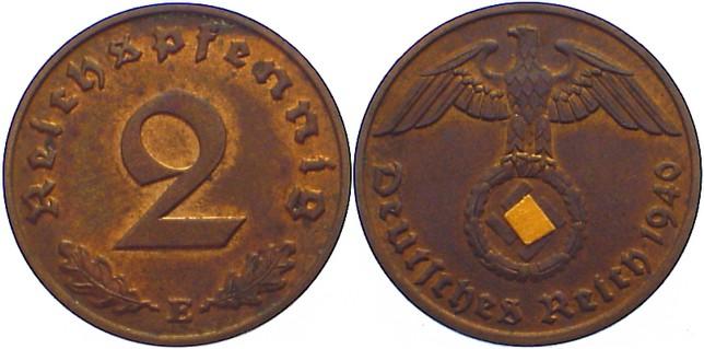 2 Reichspfennig 1940 E Drittes Reich Kursmünzen 1933-1945. vorzüglich