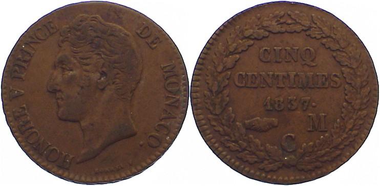 Cu 5 Centimes 1837 MC Monaco Honoré V. 1819-1841. sehr schön