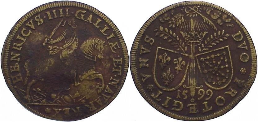 Kupfer-Rechenpfennig 1599 Nürnberg-Rechenpfennige Anonym Ende 15. bis Ende 16. Jahrhundert. selten, leicht gewellt, Belagreste, sehr schön